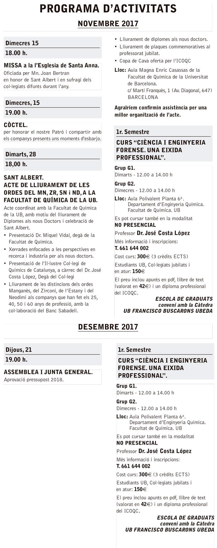 Sant Albert 2017 – Programa d'actes